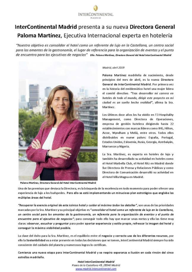 NP InterContinental Madrid, presenta a su Nueva Directora General