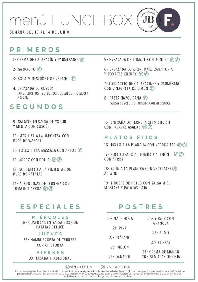 1Fudeat Menú Lunchbox 10 - 14 Junio