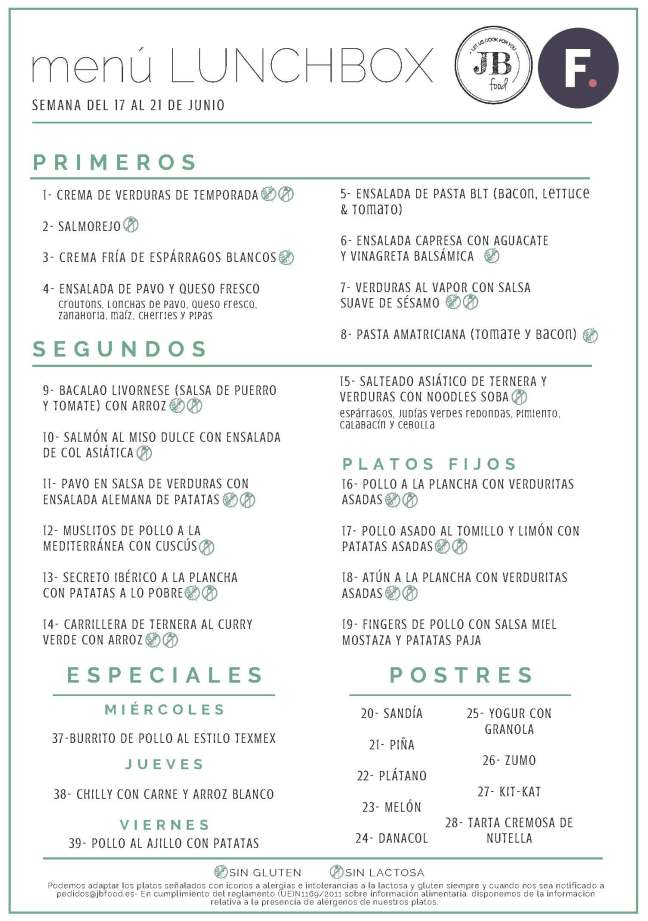 1Fudeat Menú Lunchbox 17 - 21 Junio
