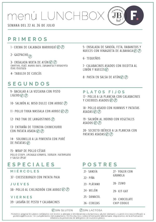 Fudeat Menú Lunchbox 22 - 26 Julio